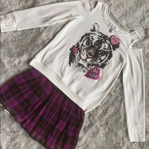 NWOT Jessica Simpson Matching Tiger Top and Skirt